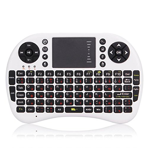 Bolayu 2.4Ghz Mini Wireless Keyboard Mouse for Smart TV PC Laptop Tablet White