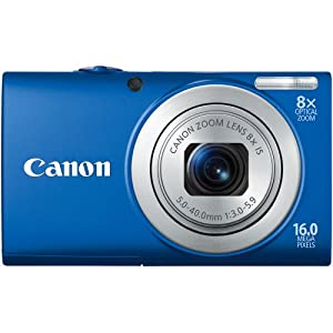 Canon PowerShot A4000IS 16.0 MP Digital Camera with 8x Optical Image Stabilized Zoom 28mm Wide-Angle Lens with 720p HD Video Recording and 3.0-Inch LCD (Blue)