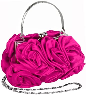 MG Collection Fuchsia Rosette Evening Handbag