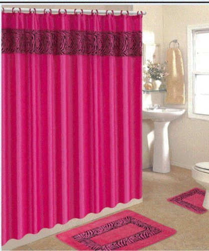4 Piece Bath Rug Set Pink Zebra 3 Piece Bathroom Rugs With Fabric Shower Curtain And Matching Rings