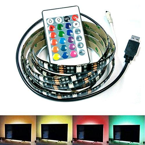 INVESCH Led Strip light 5V USB Bias Lighting for Flat TV LED Backlight Mood Lighting RGB Changing Monitor TV Monitor Backlighting Kit-2 Meters with 24 Key Remote Controller