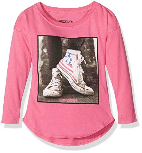 Converse Long Sleeve Photo, T-Shirt Bambina, Rosa (Mod Pink), Medium (Taglia Produttore: 10-12Y)