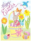 Easter Clings w/ Glitter 12 x 17 Reusable Vinyl Static Window Cling Cutouts - Easter Bunny in Basket of Eggs