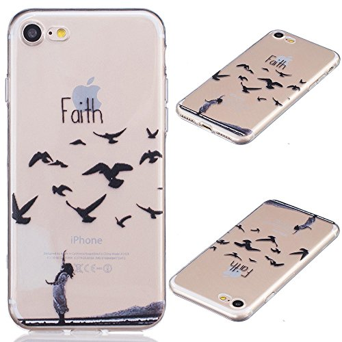 iPhone 7 Case, Asstar Ultra Thin Clear Flexible Soft Art Pattern Crystal Gel TPU Rubber Slim Skin Soft Shock Absorption Anti-Scratches Case for Apple iPhone 7 2016 (Faith) (Unit Iphone Case compare prices)