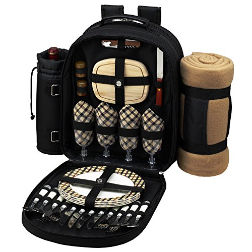 Picnic At Ascot London Picnic Backpack For 4 With Blanket
