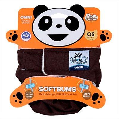 SoftBums Omni One Size Cloth Diaper 3 piece set - Hook & Loop, Chocolate