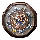 ワンピースからくり 掛け時計 4MH880-M06 ブラウン キャラクター [並行輸入品]