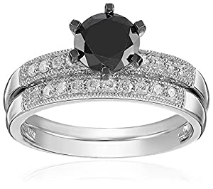 10k White Gold Black and White Diamond Engagement Ring (1.33 Cttw, G-H Color, I2-I3 Clarity), Size 8