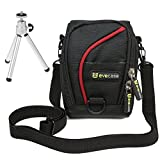 Evecase Black w/Red Strip Pouch Nylon Case + Portable Lightweight Mini Tripod Stand for Samsung WB350F WB35F WB50F WB30F NX2000 NX1100 ST72 NX300 WB250F ST150F WB800F DV150F ,Panasonic Lumix SZ8 LF1 TZ40 FT5 XS1 SZ3 FS50 F5 TZ35 FT25,Sony Cyber-shot W830