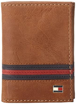 Tommy Hilfiger Men's Yale Trifold Wallet, Saddle Tan, One Size