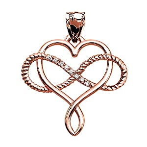 Infinity and Heart Intertwined Diamond 10k Rose Gold Rope Design Pendant