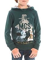 M C S Camiseta Manga Larga Jersey Sprayed Hoodie (Verde Botella)