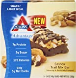 Atkins Advantage Trail Mix Bar, Cashew, 5 Count (Pack of 6)
