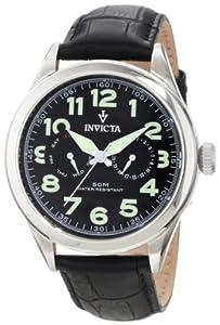 Invicta Men's 11741 Vintage Master Calendar Black Dial Black Leather Watch