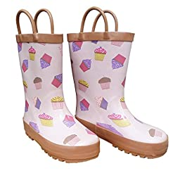 Foxfire for Kids Light Pink with Cupcakes Rubber Boots size 10