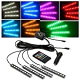 JOJOO 4pcs 9 LED Multi-color Remote Control Car LED Interior Lights Atmosphere Neon Lights Kit with Sounds-activated & Wireless IR Remote Control, Car Charger Included, MA006
