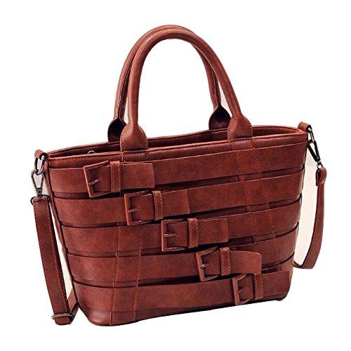 Yuntun 2016 Spring New Style Bag Personality Portable Belts Female Handbags(Brown)