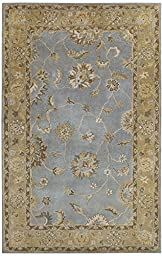 Area Rug, Light Blue Traditional Bordered Soft Wool Carpet, 5-Foot X 8-Foot