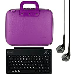 SumacLife Cady 10.1-inch Tablet Messenger Bag for Fire HD 10 with Black Headphones (Purple)