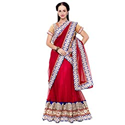 Suchi Fashion Red Net Embroidered Circular Lehenga Choli