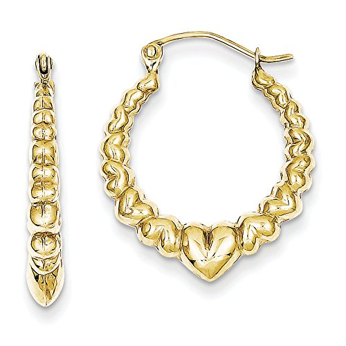 Heart Shaped Earrings - Hoop In 10Kt Yel Gold - Hinge W/ Post Backs - Seductive