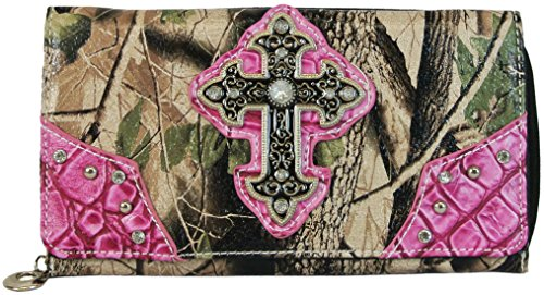 Camo Clutch Wallet Organizer and Checkbook Cover Bling Rhinestone Cross Hot Pink