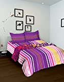 Tomatillo Geometric 4 Piece Cotton Double Bedding Set - Purple and Pink