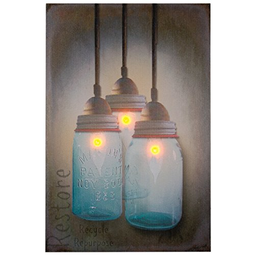 Ohio Wholesale Canning Jar Chandelier Canvas Radiance Lighted Wall Art (Lighted Jars compare prices)