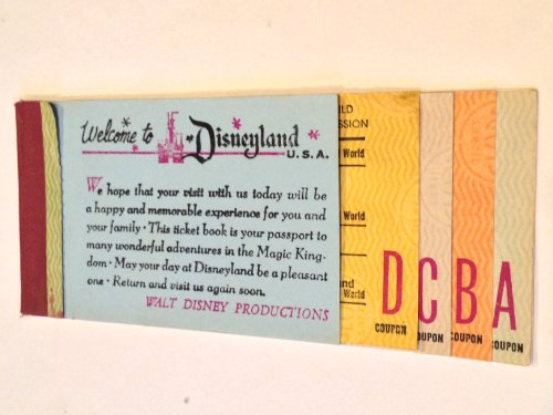 1968 Disneyland Magic Kingdom Ticket Book w/5 Coupons Attached