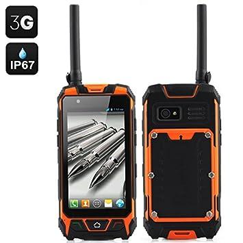 SHOPINNOV Smartphone robuste Android 4.5 pouces, Talkie Walkie, 3G, GPS, boussole, Resistant à l'eau et aux chocs Modèle Orange