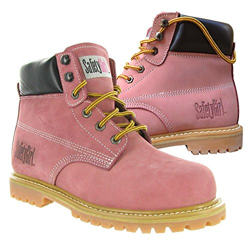 SafetyGirl GS002 Nubuck Leather Steel Toe Waterproof Womens Work Boot, 6