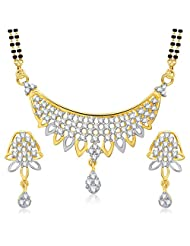 VK Jewels Alluring Gold And Rhodium Plated Mangalsutra Pendant Set With Earrings For Women -MP1223G [VKMP1223G]