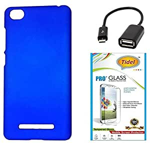 Tidel Ultra Thin and Stylish Rubberized Back Cover for Xiaomi Mi 4i (Blue) With Tidel 2.5D Curved Tempered Glass & Micro OTG Cable