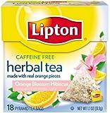 Lipton Herbal Pyramid Tea Bags, Orange Blossom Hibiscus, 18 Count (Pack of 6)