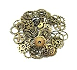 Yueton 100 Gram Assorted Antique Steampunk Gears Charms Pendant Clock Watch Wheel Gear for Crafting, Jewelry Making Accessory (Bronze)
