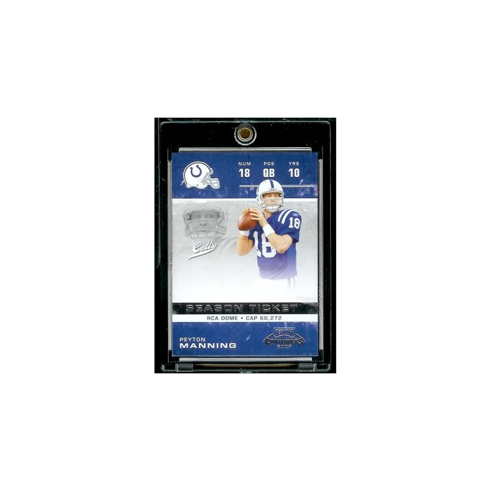 2007 Playoff Contenders # 43 Peyton Manning   Indianapolis Colts   NFL Football Trading Card in Protective Display Case