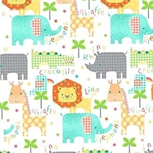 Flannel kids jungle animals words on white cotton flannel for Kids jungle fabric