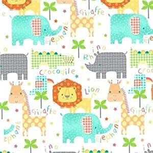 Flannel kids jungle animals words on white for Childrens jungle fabric