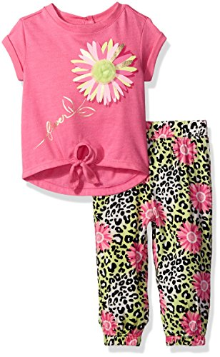 Kids Headquarters Baby Single Dye Jersey Tie Front Top and Printed Challis Jogger, Pink, 18 Months