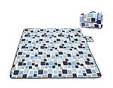 MANATSULIFE(マナツライフ) レジャーシート 大人5人用:200×200cm折りたたみ・持ち手付き (格子柄)ブルー×ホワイト
