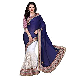 silvermoon women's net embroidered free size fancy saree-sm_NMTHA108_blue_free size