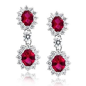 Bling Jewelry Round Crown Set Red Simulated Ruby Oval CZ Drop Earrings Rhodium Plated