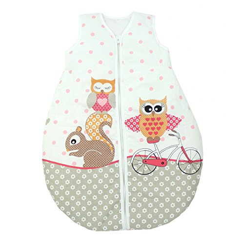 Baby Schlafsack Kinderschlafsack Wattiert Ganzjahres Babyschlafsack ohne Ärmel, Farbe: Eulen 2 Rosa, Größe: 80-86