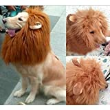 Nimble Joy Home Pet Dog Funny Fake Emulation Lion Hair Mane Ears Head Cap Dress up Costume Red Brown Color