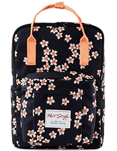 "HotStyle Bestie Zaino 18L - Daypack Floral Impermeabile per Laptop 14"" - Nero"