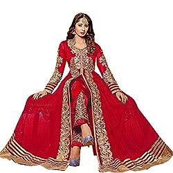 OM SAI FASHION WOMAN NET DRESS WITH DUPPTA(OSRDCG-205 RED FREE SIZE)