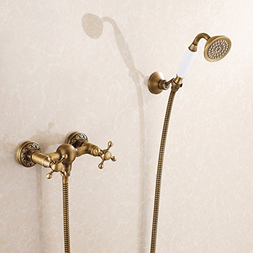 Rozin Art Style Wall Mount Mixer Handheld Showerhead Set Antique Brass front-349993