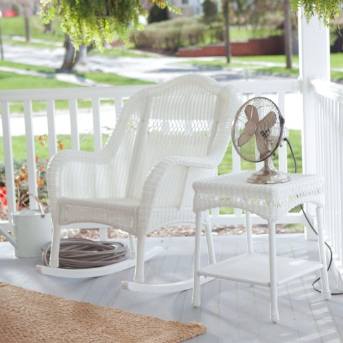 Coral Coast Casco Bay Resin Wicker Rocking Chair With Side Table - front-148625