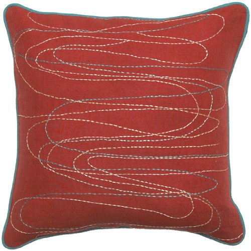 Surya OD-8001 Machine Made 50% Jute / 50% Cotton Red 18 x 18 Decorative Pillow