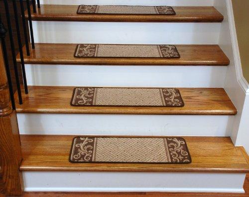 Carpet Stair Treads - Caramel Scroll Border